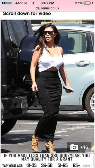 long maxi skirt bodycon skirt long kim kardashian west white top long black skirt long midi skirt kim kardashian top