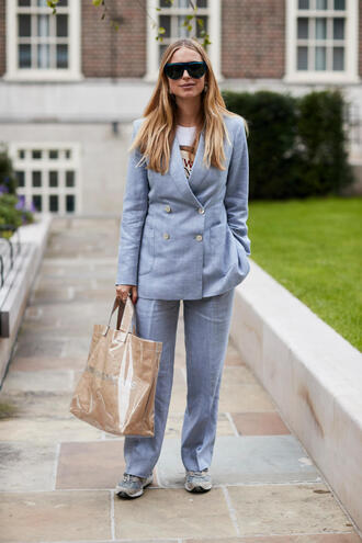 pants tumblr blue pants light blue blazer blue blazer matching set office outfits bag tote bag sunglasses fall outfits