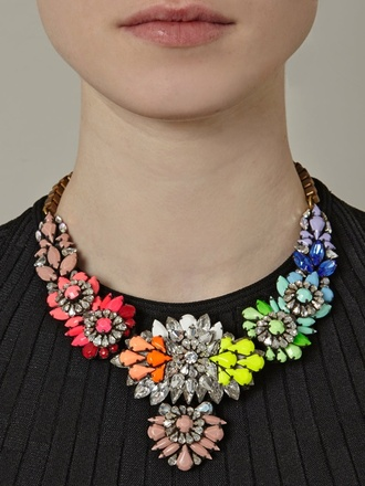 jewels shourouk necklace statement necklace colorful gemstone rhinestones jewelry multicolor choker necklace statement gems summer staple