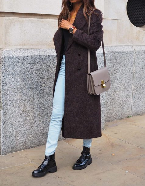 symphony of silk blogger coat shoes winter outfits fall outfits shoulder bag grey bag ankle boots