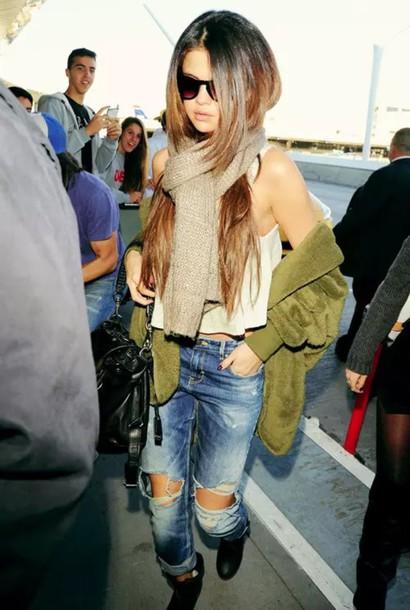 jeans tank top jacket scarf