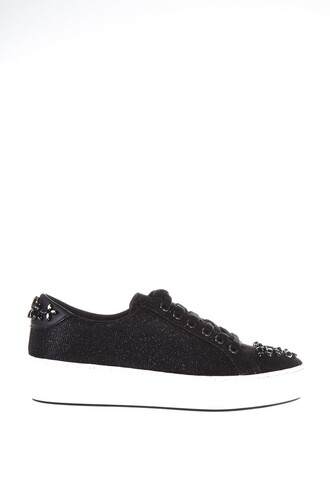embroidered sneakers black shoes