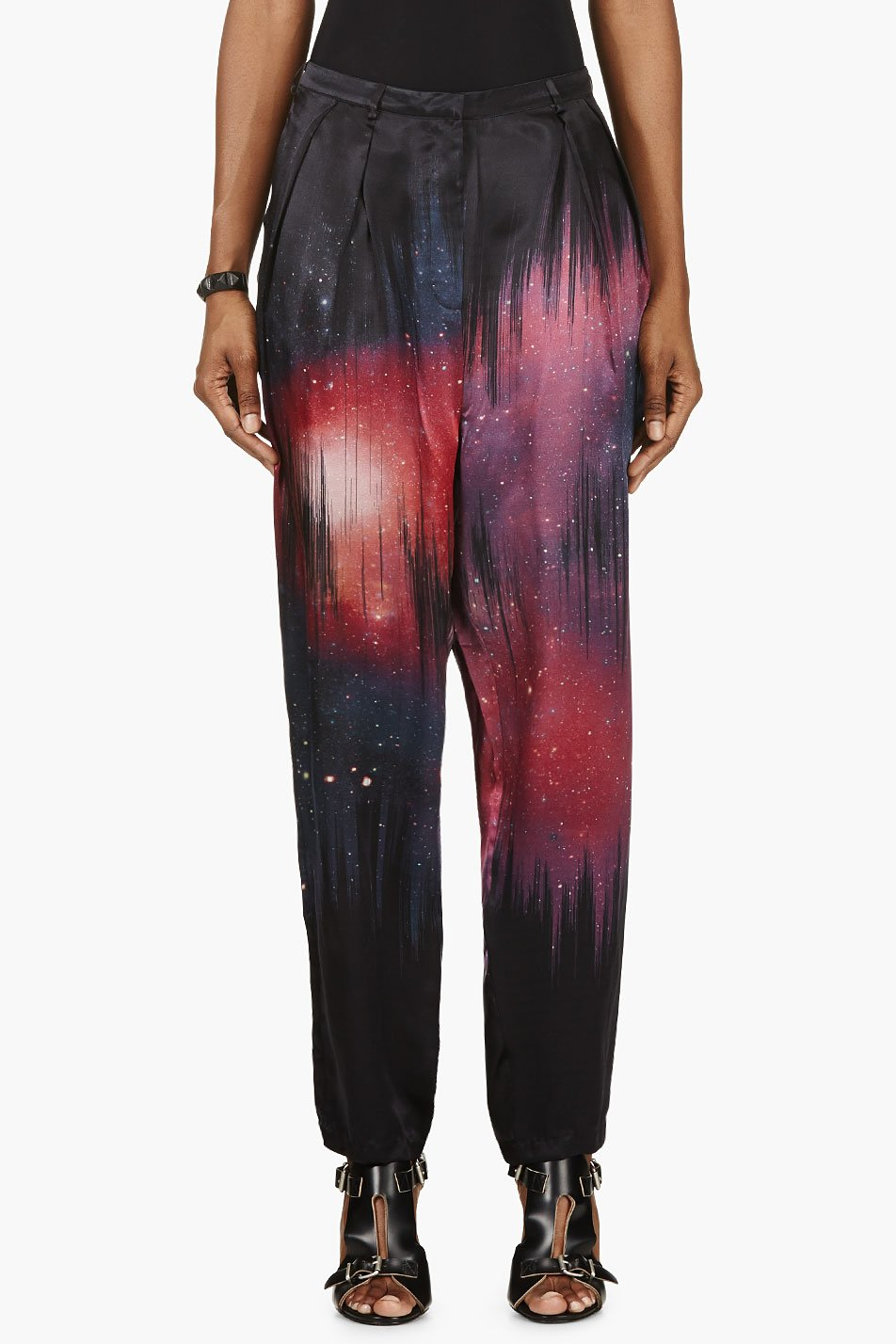 Avelon black and pink silk cosmic tousled pants