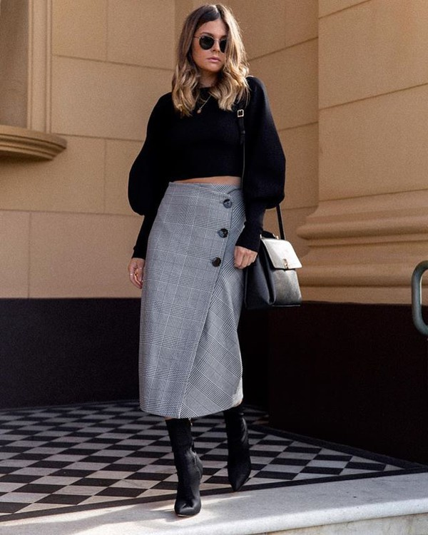 0b81c75b skirt grey skirt black sweater black boots midi skirt button up sweater  cropped sweater boots
