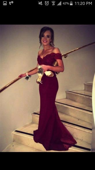 dress burgundy dress prom off the shoulder mermaid prom dress tight dresses