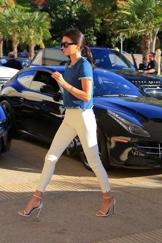 denim top kendall jenner kardashians streetstyle classy keeping up with the kardashians