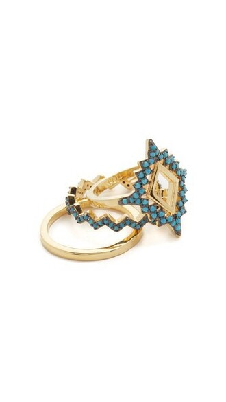 sea ring gold turquoise jewels