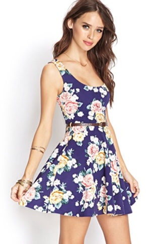 dress forever 21 cute dress flowers floral blue belt wonderful beautiful lovely dress