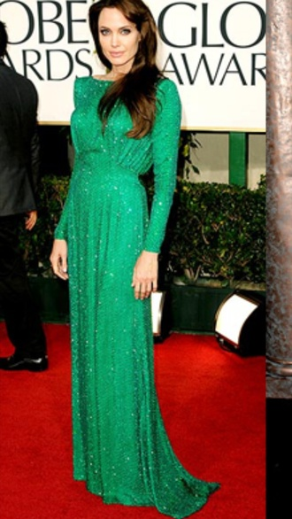 dress green long sleeves angelina jolie formal