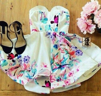 dress pink dress flowers white dress flower dress