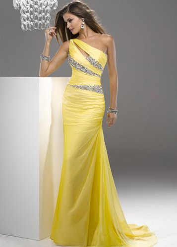 Yellow One Shoulder Sequin Top Cutout Long Prom Dress [Sequin Top Cutout Long Gown] - $172.00 : Prom Dresses On Sale, 60% off Dresses for Prom Night 2013