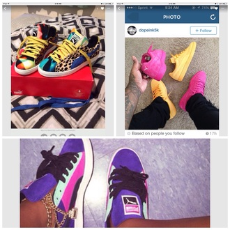 shoes pumas multicolored animal print sneakers multicolor sneakers pastel sneakers pink dress purple dress boots with spikes and cheetah print