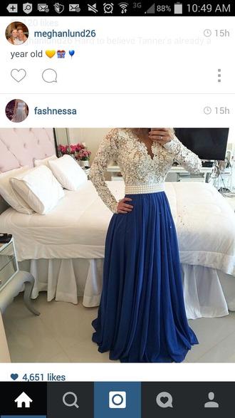 dress blue skirt lace top