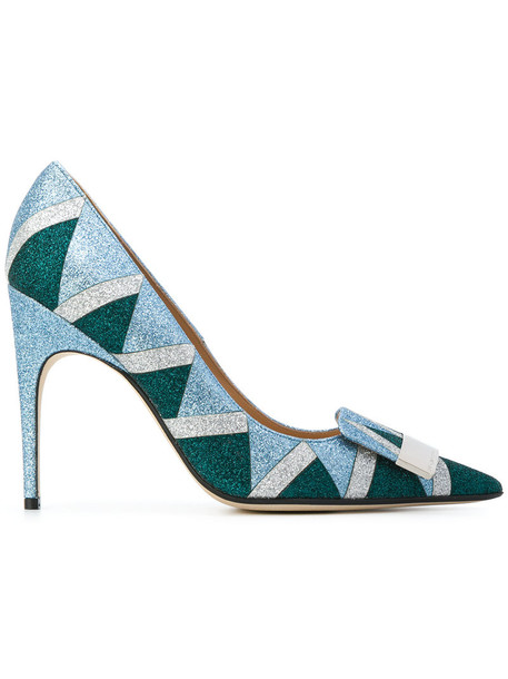 Sergio Rossi glitter women pumps leather blue shoes