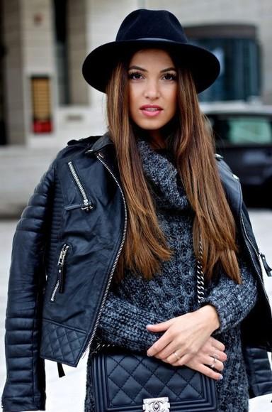 hat jacket black elegant leather jacket winter jacket warm winter coats sweater knitted sweater grey cardigan chanel bag black hat