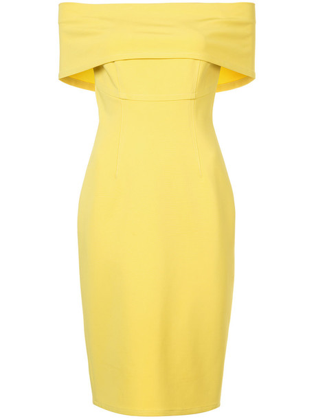 Yigal Azrouel dress off the shoulder women spandex yellow orange
