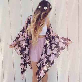 floral kimono crop tops tank top midi skirt pink skirt flower headband coachella boho headband hippie headband head jewels floral flower crown festival music festival boho chic bohemian daisy kimono dress purple crown daisy crown throw jumper cardigan purple flowers flowers love cute skirt light pink skater skirt