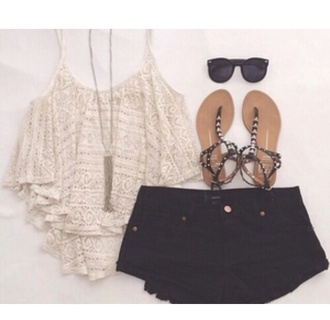 top cute black black shorts crochet top