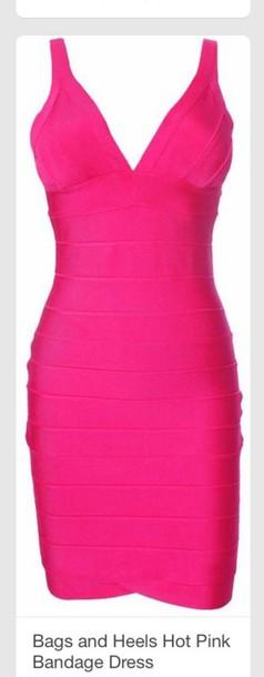 dress pink dress bandage dress bodycon dress neon sexy dress style fashion summer dress clubwear