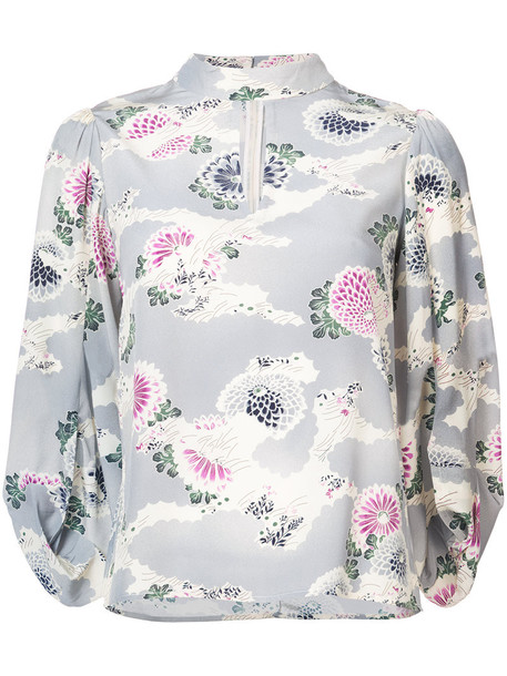 CO kimono blouse women floral print blue silk top