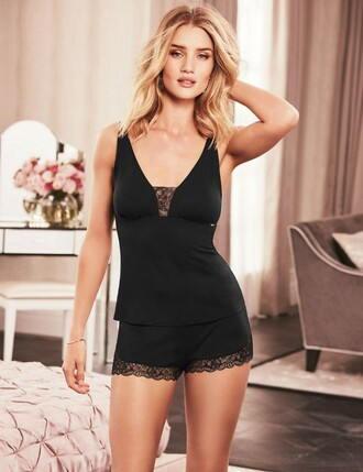 underwear lingerie lingerie set black lingerie rosie huntington-whiteley shorts pajamas