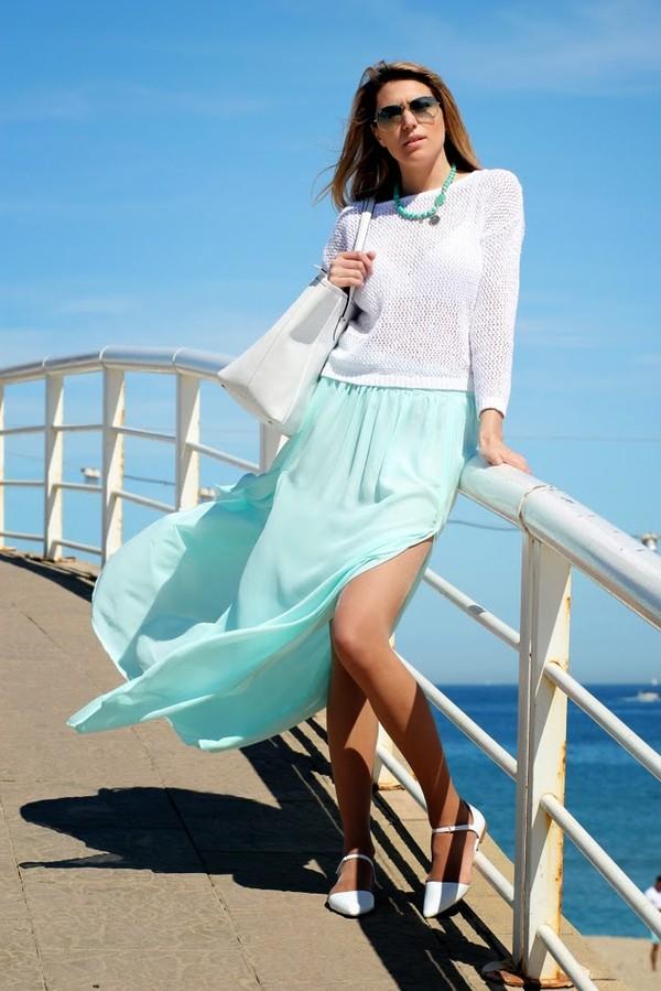 tu nuevo look sweater skirt bag jewels shoes