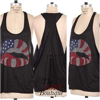 tank top american lip black tank top lips american flag shirt style stylish trendy