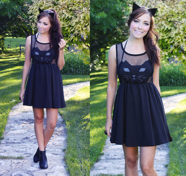 Black cat face dress