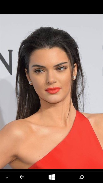 make-up orange dress one shoulder orange orange lipstick straight hair earrings kendall jenner