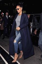 coat,rihanna,jeans