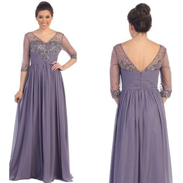 Dress Midlength Sleeve V Neck Dress Full Length Dress Chiffon
