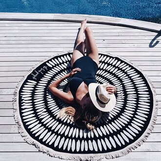 scarf round beach towel printed towel beach towel swimwear one piece swimsuit black swimwear hat sun hat straw hat summer