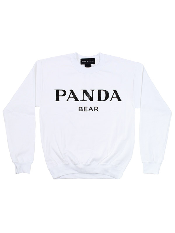 ALEX AND CHLOE / PANDA BEAR - SWEATSHIRT - WHITE W/BLACK : ALEX & CHLOE - Brian Lichtenberg, Homies, Wildfox Couture, UNIF, Homies South Central at ALEX & CHLOE