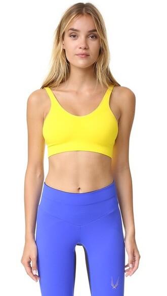 bra sports bra knit yellow underwear
