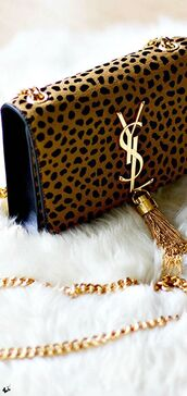 chain bag,designer bag,shoulder bag,animal print,animal print bag,ysl bag,designer,tassel,leopard print,mini shoulder bag