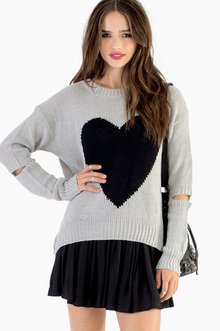 Acting A Heart Sweater - Tobi