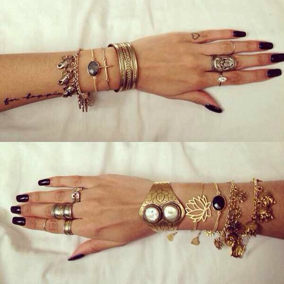 jewels black jewels gold jewels black boho hipster goth hipster grunge soft grunge girly grunge bronze bronze ring bracelets set bracelets