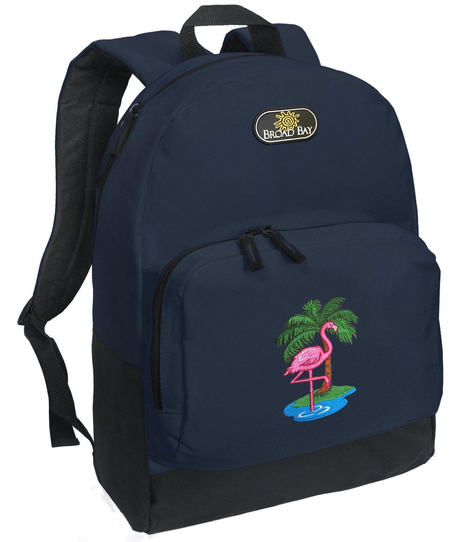 Amazon.com: flamingo backpack navy blue pink flamingos travel or school bag: clothing