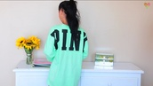 victoria's secret,mint,jumper,pink by victorias secret,earphones,blouse,shirt,pink,sweater,victorias secret top,victoria secret sweater,mintgreen pink,mylifeaseva,black and mint green.