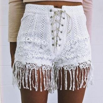 shorts lace shorts white shorts hippie boho