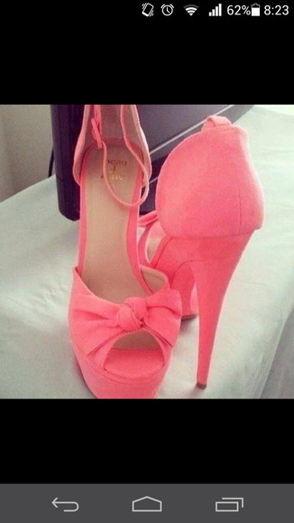 shoes pink shoes bows heels with bows platform high heels pink heels open toes pink high heels petit and sweet couture