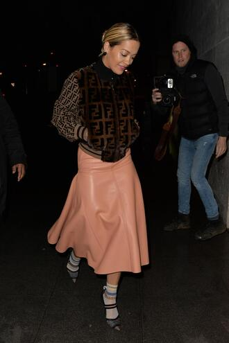 jacket skirt midi skirt rita ora pumps bomber jacket fur fendi