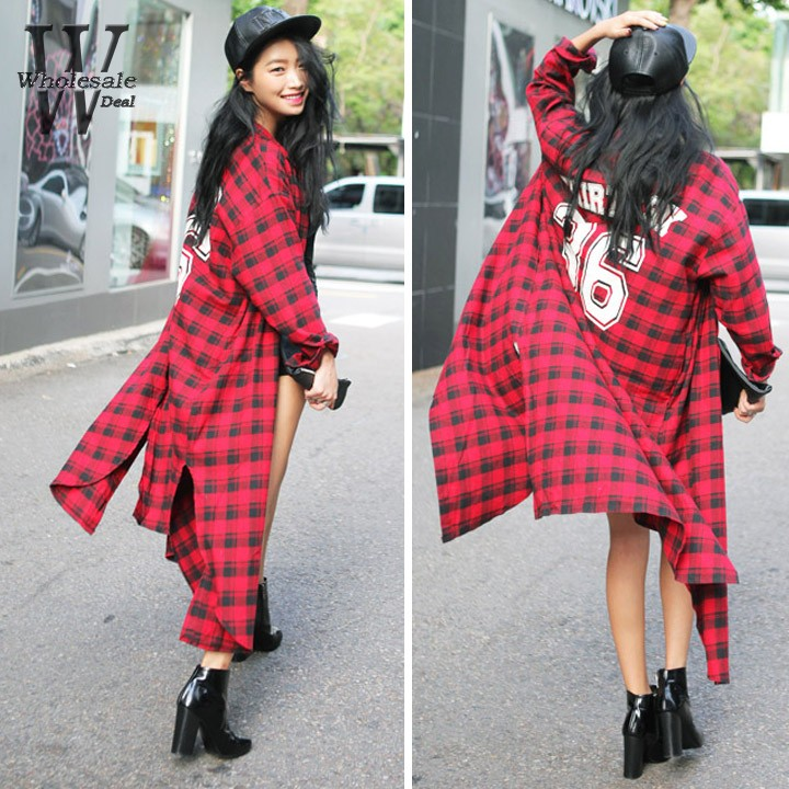 Autumn Women plaid placketing Shirt ultra long shirt Dress slim ...
