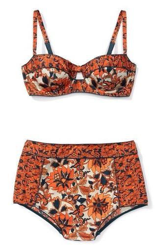 swimwear orange floral high waisted bikini