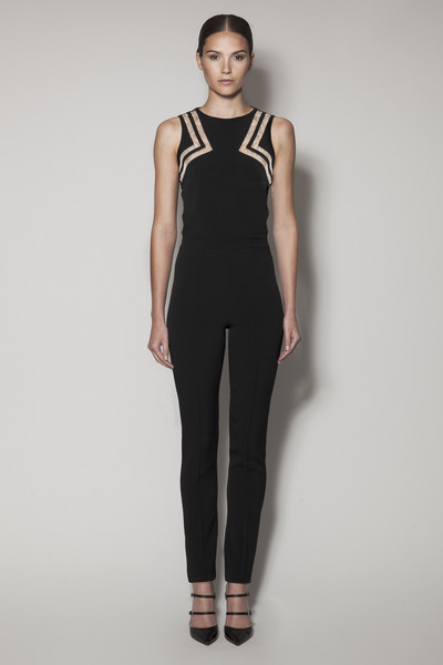 Oceana jumpsuit in black matt stretch with nude gazaar and black lace