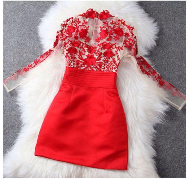 dress red dress mesh dress lace dress bodycon dress