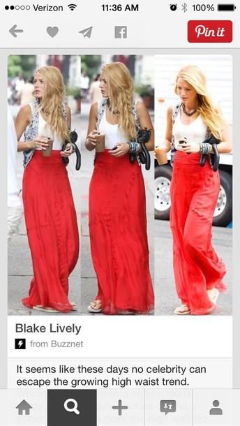 skirt red maxi skirt