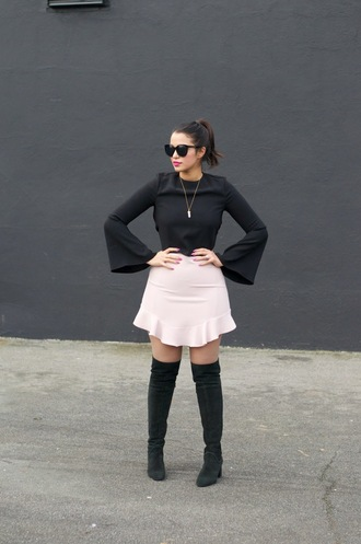 gumboot glam blogger ruffle knee-high boots pink skirt