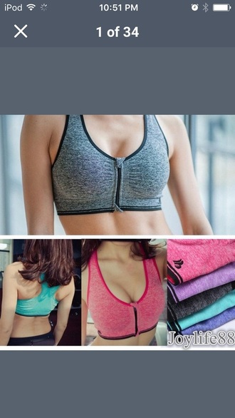 top bra zip zip-up sports bra sportswear black pink purpke purple blue