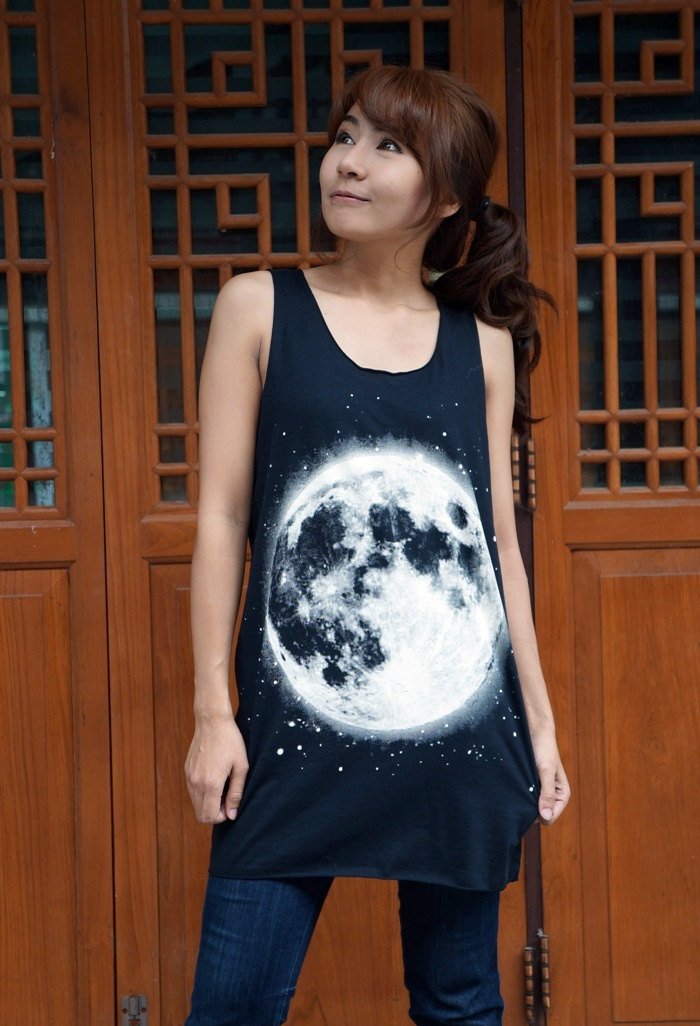 Full moon shirt moon tank top women t shirt men t shirt summer fashion tunic sleeveless unisex m l xl